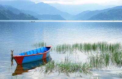 Boats in Fewa Lake in Pokhara