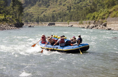 Whitewater Rafting on the Bhote Koshi in Nepal.